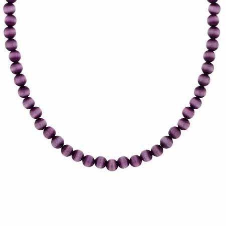 Sterling Silber 4mm Simulierte Lila Katzen Auge Stein Perle Perlen Kette 38,1–48,3cm Halskette