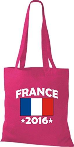 ShirtInStyle Stoffbeutel Baumwolltasche France 2016 Ländertasche, Farbe Pink pink