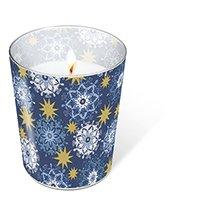 1 Kerze Glaskerze Filigree stars Höhe 10 cm, dm 8,5 cm