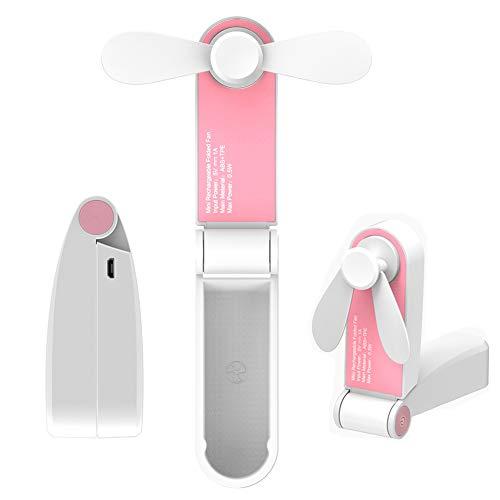 YZCX Mini Ventilatore Portatile da Esterno Tascabile Ventilatore USB Ricaricabile Palmare Pieghevole Ventilatore con 2 velocità per Home, Viaggi, Esercizio, Ufficio (Rosa)
