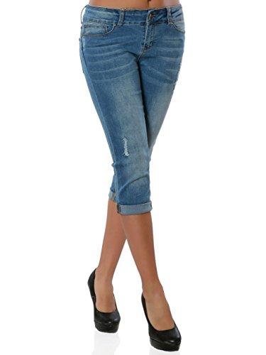 Daleus Damen High-Waist Capri-Jeans Sommerhose Kurze Hose No 15906, Farbe:Blau, Größe:S/36
