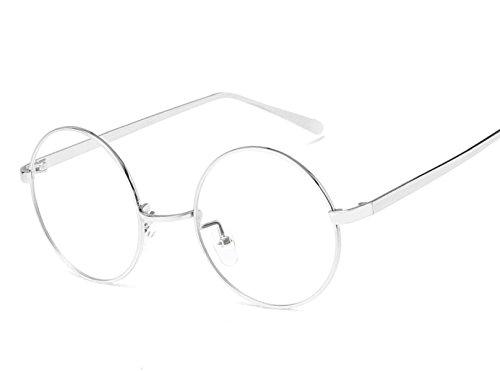 Frauen Runder Rahmen Flacher Spiegel Damen Metall Brille Mädchen Retro Brillengestell Herren Bilderrahmen Paar - Bilderrahmen Runde Kinder,