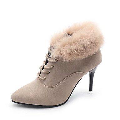 Rtry Femmes Chaussures Bas / Fourrure Nubuck Cuir Hiver Printemps Confort Mode Bottes Bottes Talon Stiletto Toe Booties / Bottines À Lacets Us6.5-7 / Eu37 / Uk4.5-5 / Cn37
