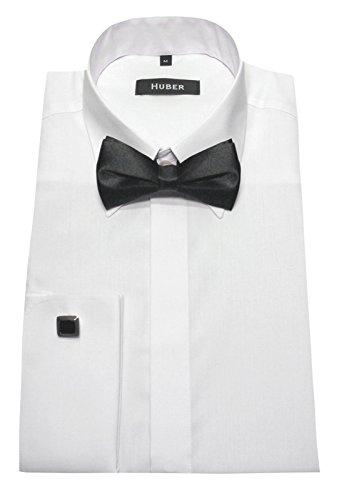 Umschlag Manschetten Hemd weiß mit Fliege HUBER 1361 Slim Fit / Tailliert S bis XXL Slim Fit Weiß