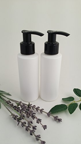 Pack 2x 100ml weiß HDPE leer Kunststoff Kosmetik Flasche mit Schwarz Lotion Pumpe Spender-recyclebar-von Avalon Kosmetik Verpackung