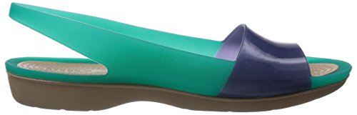 Crocs Colour Block Translucent Flat Tropical Teal / Nautical Navy Tropical Teal / Nautical Navy