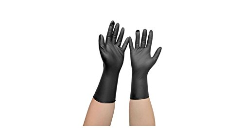 Comair 3010455 Vinyl Handschuhe gross puderfrei langer Schaft, 100 Stück, schwarz
