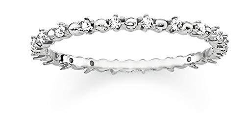 THOMAS SABO Damen Ring Dots mit weißen Steinen 925er Sterlingsilber TR2153-051-14