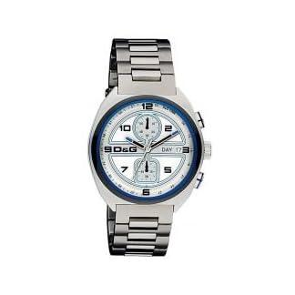 D&G Dolce&Gabbana DW0301 – Reloj cronógrafo de caballero de cuarzo con correa de acero inoxidable plateada (cronómetro) – sumergible a 50 metros