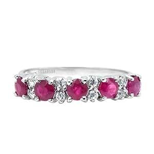 100% Genuine Nature Ruby 925 Silver Platinum Plating Ring Gem Fine Jewellery-SizeZ