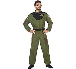 Atosa-50877 Disfraz hombre militar piloto, color verde, XL (50877)