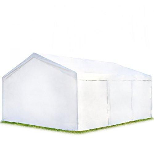 Hochwertiges Partyzelt Lagerzelt 4x6 m Zelt 240g/m² PE Plane Gartenzelt Weidezelt ! Stahlkonstruktion ! Inkl. Seitenteile + Giebelteile ! weiß