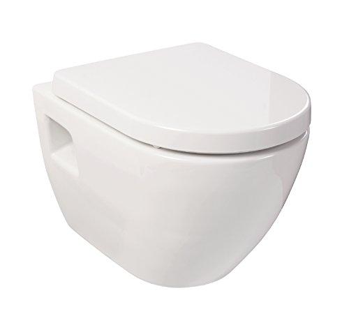 Preisvergleich Produktbild Sanitop-Wingenroth Wand-WC-Set Style | Weiß | Inklusive WC-Sitz mit Soft-Close-Absenkautomatik | Tiefspüler | Einfache Montage | Wand Toilette | Hänge-Wc
