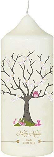 Mein Zwergenland Personalisierte Kerze zur Taufe mit Name und Datum Motiv 13 Baum mit Eule in rosa, Weiß