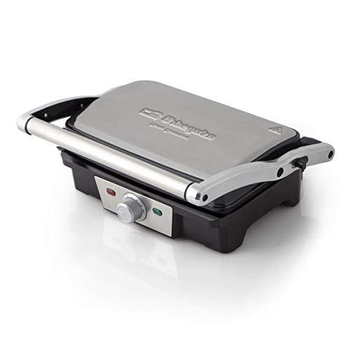 Orbegozo GR 3800 - Grill- parrilla eléctrica con placas abatibles 180°, superficie antiadherente, tapa basculante adaptable al grosor, 1500 W de potencia