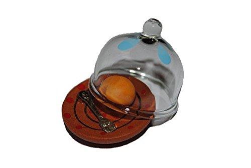Käseglocke mit Käse Teller Käseteller Dose Gabel Geschirr Küche Miniatur für - Puppenstube Küche - Maßstab 1:12