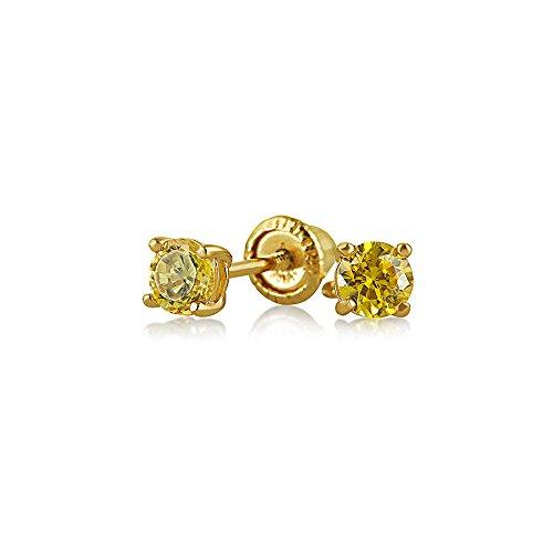 Kleine Zirkonia Kanariengelb Simulierten Citrin Cz Runde Solitär Ohrstecker Echte 14K Gelb Gold Screwback
