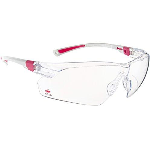 NoCry Schutzbrille mit Durchsichtigen Anti-Beschlag und kratzbeständigen Gläsern, Seitenschutz und Rutschfesten Bügeln, UV-Schutz, verstellbar, weiß rosaner Rahmen