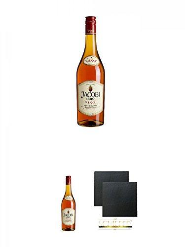 Jacobi 1880 VSOP Weinbrand 0,7 Liter + Jacobi 1880 VSOP Weinbrand 0,7 Liter + Schiefer...