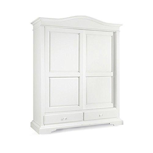 Inhouse srls armadio con 2 ante scorrevoli e 2 cassetti, arte povera, in legno massello e mdf con rifinitura in bianco opaco - mis. 180 x 67 x 226