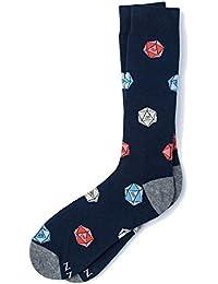 9e5bdb73e6d7 Men's Hipster Navy Blue D2O Dice Dungeons & Dragons Novelty Crew Dress Socks