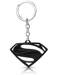 Three Shades Superman Logo Metal Black Keychain Black Superman Logo Metal Keyring & Keychain