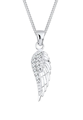 Elli Damen Schmuck Halskette Kette mit Anhänger Flügel Klassisch Elegant Glamourös Silber 925 Swarovski® Kristalle Silber Länge 45 cm