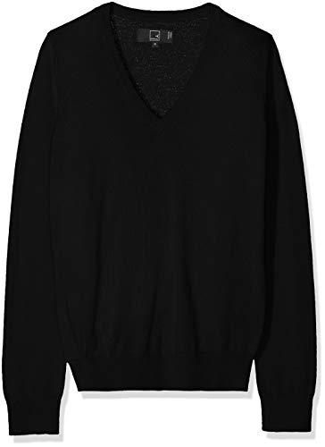 MERAKI Merino Pullover Damen mit V-Ausschnitt, Schwarz (Black), 46 (Herstellergröße: XXX-Large) (Damen-ausschnitt Pullover)