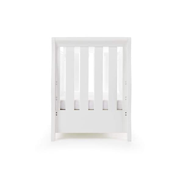 Obaby Stamford Sleigh Luxe Cot Bed - White Obaby Adjustable 3 position mattress height Bed ends split to transforms into toddler bed Includes matching under drawer for storage 14