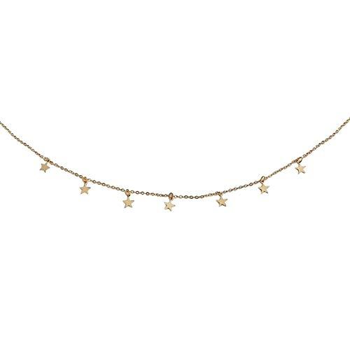 GREENLANS Mode Halskette, Frauen Anhänger Sterne Legierung Schlüsselbein Kette Choker Schmuck, Geburtstag Weihnachten Valentinstag Dekor Geschenk Golden