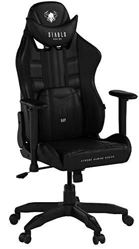 Diablo X-Ray Gaming Stuhl Bürostuhl Kinderstuhl Schreibtischstuhl 2D Armlehnen Ergonomisches Design Kunstleder Perforation Wippfunktion (schwarz-schwarz, Kindergröße)