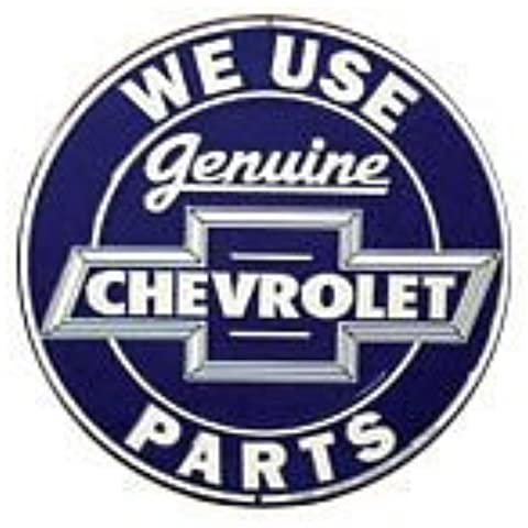 We Use Genuine Chevrolet Chevy Parts Round Retro Vintage Tin Sign by Poster Revolution
