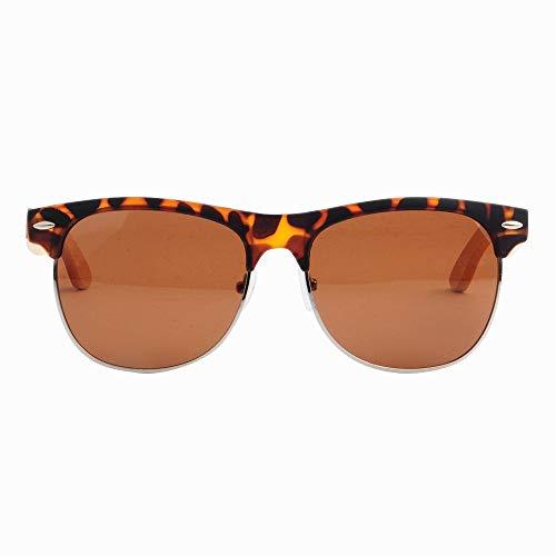 GSSTYJ Klassische Bequeme Universal Metall Halbrahmen Bambus und Holz Sonnenbrillen für Männer und Frauen als Geschenke für Freunde und Verwandte (Farbe : C2 Tortoise Shell)