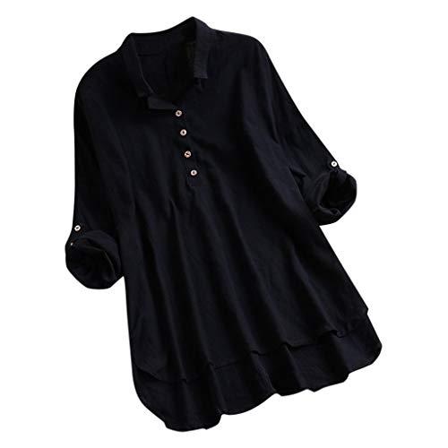 Andouy Damen Hemd Top Kariertes Langarm Leinen Plus Size Gr.38-46 Tunika Knopf Lose Bluse Übergroß(XL(44).Schwarz -