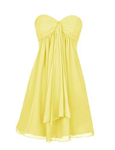 Dresstells, robe courte de demoiselle d'honneur mousseline sans bretelles col en cœur Jaune