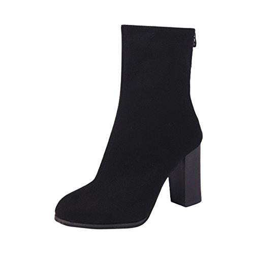 JURTEE Stiefeletten Damen Mit Absatz Schnalle Damen Warme Stiefel Stiefeletten High Heels Schuhe