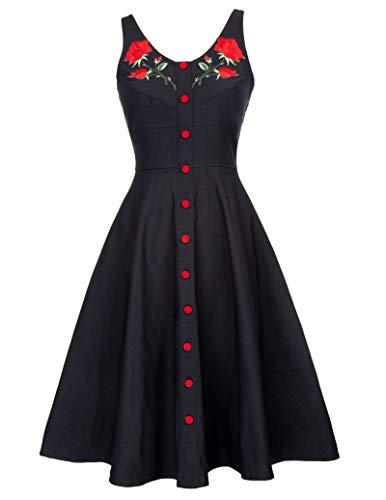 Belle Poque Damen Rockabilly Kleid Blumenkleid Stickereien
