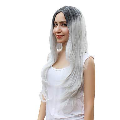 1b Natur (Natur Perücken Frauendame Langen geraden 1b / graue Farbe Haar Cosplay Perücken, Grey)