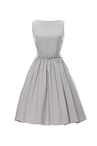 Kostüme 1940's Damen (iLover 50s Vintage Rockabilly Blumenkleid Hepburn Stil Partykleid Cocktailkleid 50er Jahr Abendkleid (EU 46(XXXL),)
