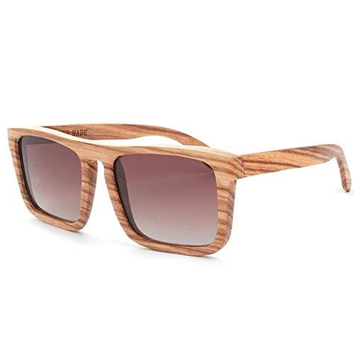 XHCP Frauen Klassische Sonnenbrille Big Square Oversized Damen Holz Sonnenbrille handgefertigt polarisierte TAC Objektiv UV-Schutz Fahren Urlaub Angeln Strand Outdoor Sonnenbrille