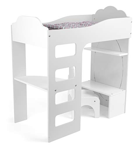 Small Foot 12025 Lit Mezzanine en Bois avec Parure de lit, Bureau, Chaise et Miroir pour Enfants à partir de 3 Ans Jouet Multicolore