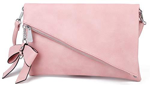 Løkke - Damen Clutch Pink Handtasche - Tasche mit abnehmbarem Schulterriemen - Abendtasche Schultertasche Umhängetasche - inkl. Schleife -