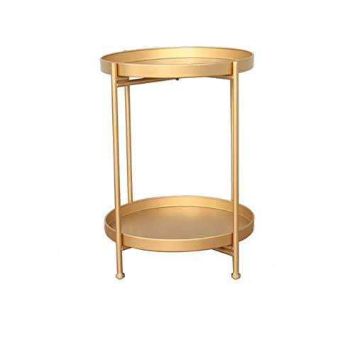 MUCHENG ZI Einfacher Tisch Einfacher doppelter Kleiner Couchtisch Wohnzimmer Sofaecke Mehrere Schlafzimmer Nachttisch Schmiedeeisen Kleiner runder Tisch (Farbe : Gold) | Schlafzimmer > Nachttische | MUCHENG ZI