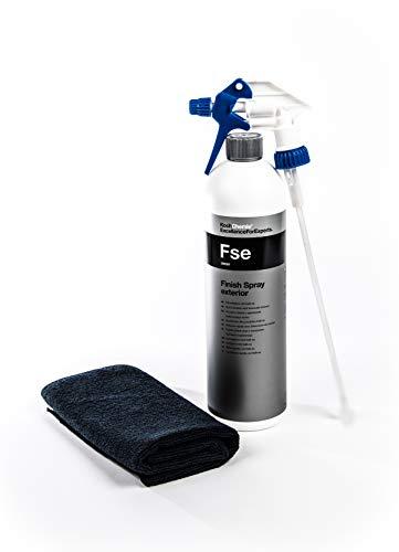 Koch Chemie Finish Spray Exterior Schnellglanz mit Kalk-ex FSE + Clean 2 Sprühkopf+Microfasertuch 40 X40 cm Schwarz