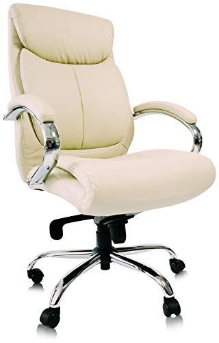 CHICCIE KingChairs Chefsessel Kings - Beige Chrome Kunstleder - Bürostuhl Schreibtischstuhl Drehstuhl Sessel Stuhl