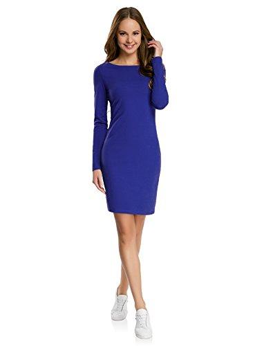 oodji Ultra Damen Enges Jersey-Kleid, Blau, DE 34 / EU 36 / XS