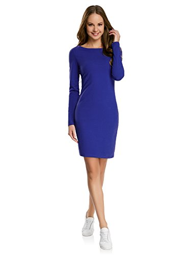 Blaues Casual Kleid (oodji Ultra Damen Enges Jersey-Kleid, Blau, DE 36 / EU 38 / S)