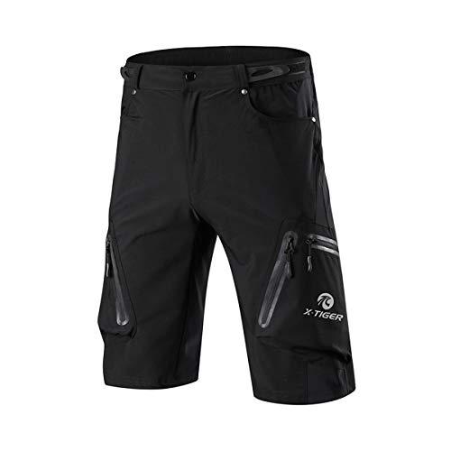 X-TIGER Pantalones Cortos de Ciclo Holgados de Hombres, Transpirables Sueltos, para MTB de los Deportes al Aire Libre (XXXL, Negro)