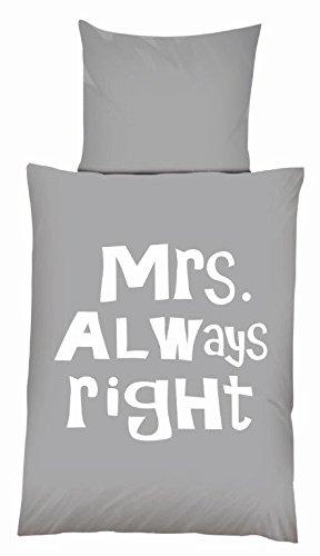 #Mikrofaser Bettwäsche Set Schriftzug Mrs. Always Right grau-weiß 135 x 200 cm mit Reißverschluss (Mrs. Always Right)#