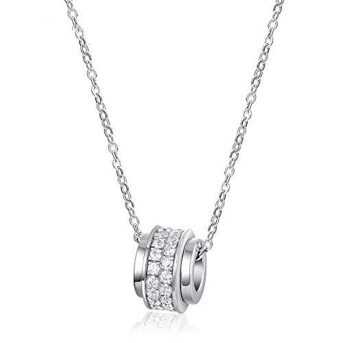 WANZIJING 925er Sterling Silber Kreis Halskette, Zierliche minimalistische Kreis Halskette mit Eternity Cz Crystal, 18 Zoll - Silber Kreise